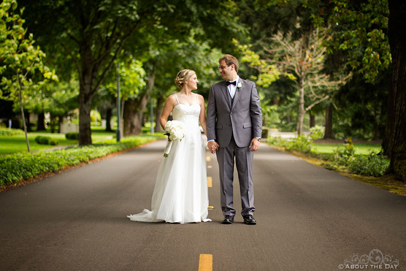 Bride and Groom along street at Officers Row