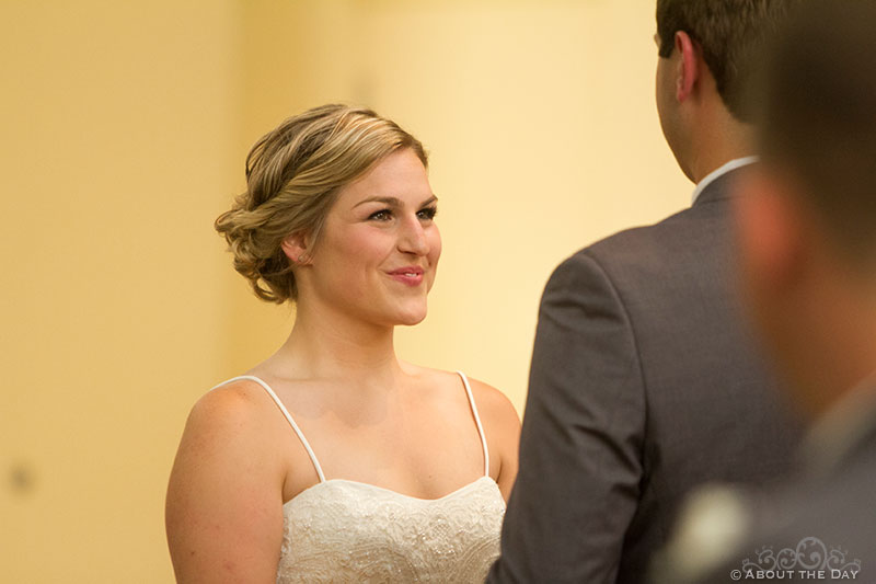Bride and groom do their wedding ceremony vows