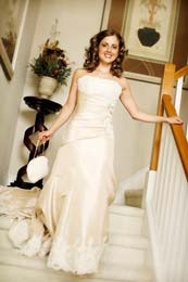 Bride first look on the stairs in Vancouver, Washington