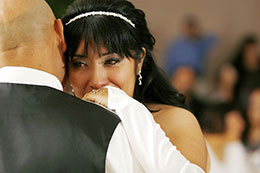 Bride cries while dancing with her father