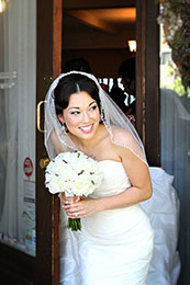 Bride sneaks a look before the ceremony