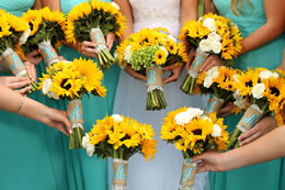 Spring colored bridal boquets
