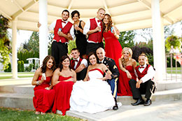 Wedding party in a relaxed pose at Promise Gardens