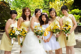 Bride and her lovely maids in yellow at the Harbor Club