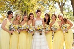 Bride and her Bridesmaids all dressed in yellow