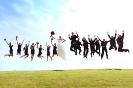 Wedding party jumps very high at Gas Works Park