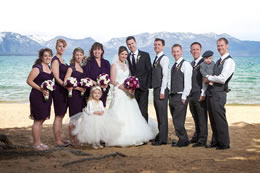 Wedding party poses by Lake Tahoe
