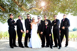 Hot Bride with all the Groomsmen and cigars