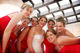 Bride and her girls get a quick pose before ceremony