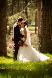 Wedding Photography Kissing in the pine trees near Lake Tahoe