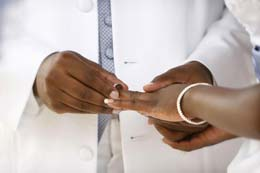 Wedding Photography Groom places ring on Brides finger