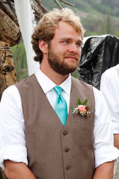Groom gets choked up when he sees the Bride enter