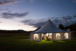 Wedding tent lights up at the Blueberry Hill Inn