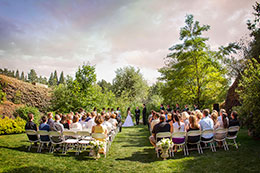 Wedding ceremony at Chateau Rive with smoke in the sky