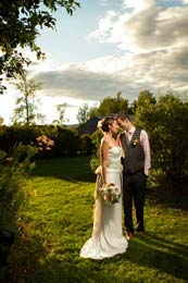 Bride and Groom in the last light of the day at Blueberry Hill Inn