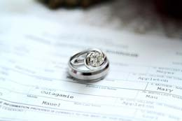 Wedding rings on the marriage license