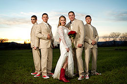 Bride with red boots and the boys