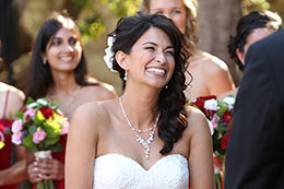Bride smiles during vows at The Old Whaling Station
