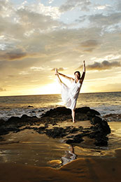 Bride shows Yoga pose on Kailua Kona beach