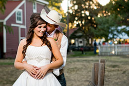 Country wedding with beautiful Bride and cowboy Groom