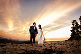 Sunset wedding portrait at Mogollon Rim