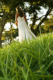 Worms eye view of Bride in the grass