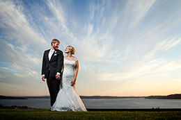 Spectacular sunset for bride and groom