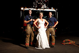 Bride poses with Oregon City fire fighters
