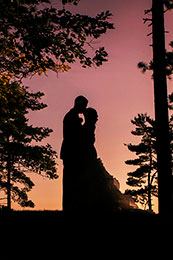 Wedding couple silhouette at the Peninsula Room in Traverse City