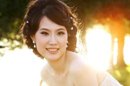 Asian Bride glows in sunset