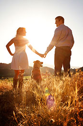 Engagement session with dog at Regusci Vineyards