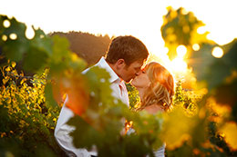 Enaged couple kiss in the Regusci Vineyards near Napa, California