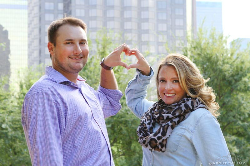 Engaged couple at Klyde Warren Park in Downtown Dallas, Texas