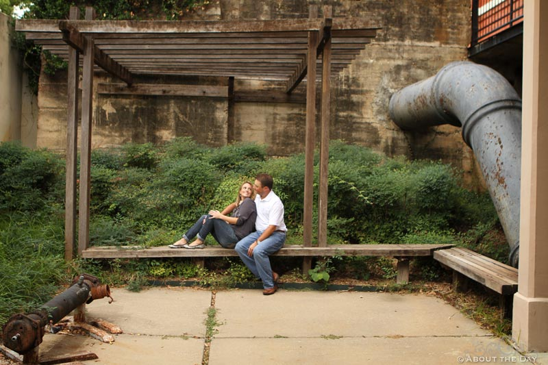 Engaged couple at the Filter Building & Pump House in Dallas, Texas