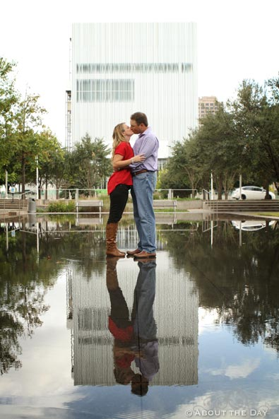 Engaged couple at the AT&T Performing Arts Center in Dallas, Texas