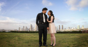 Engagement photos with San Diego in the background