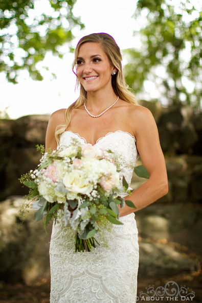 Lovely bride poses for portrait at Shadow Lake Ranch