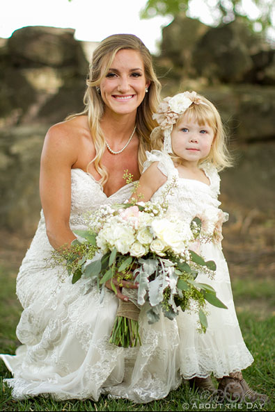 Bride and the flower-girl at Shadow Lake Ranch