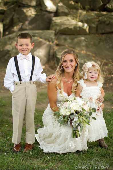 Bride and the ring-bearer and flower-girl at Shadow Lake Ranch