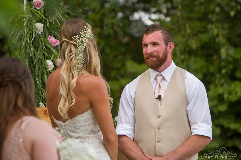 Groom speaks his vows at Shadow Lake Ranch