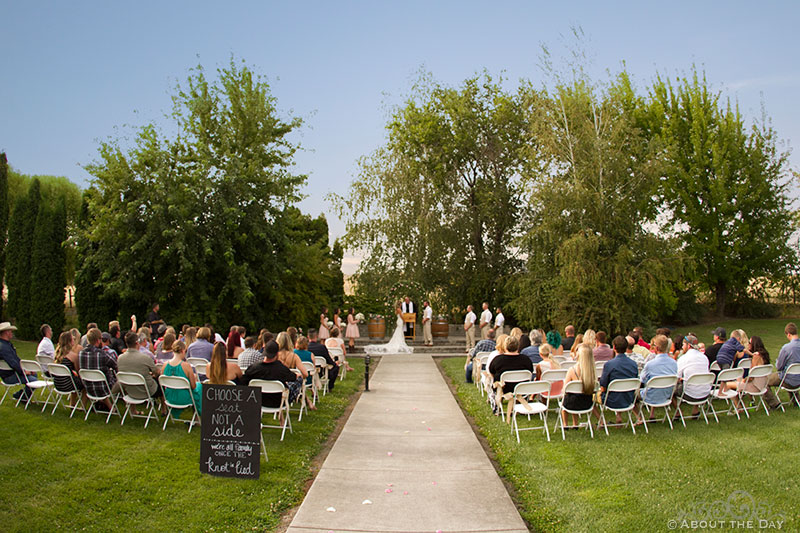 Overview of wedding ceremony at Shadow Lake Ranch