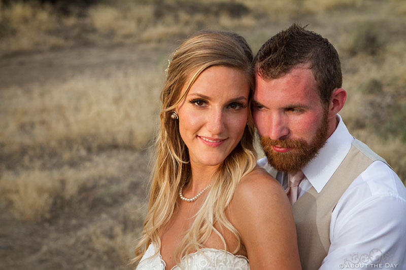 Bride and Groom in sunset light at Shadow Lake Ranch