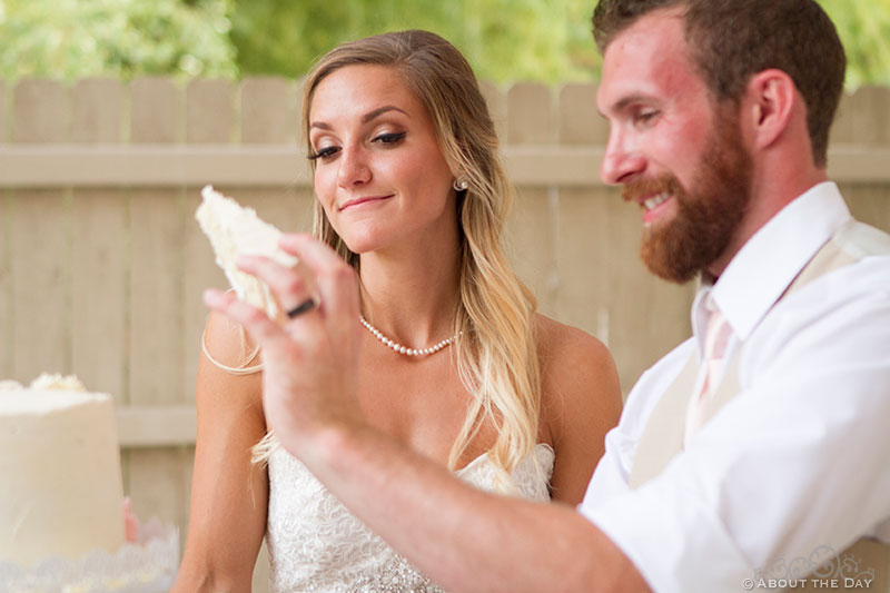 Bride thinks slice of cake is too big at Shadow Lake Ranch