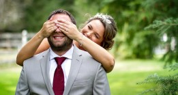 Bride covers Grooms eyes during first look