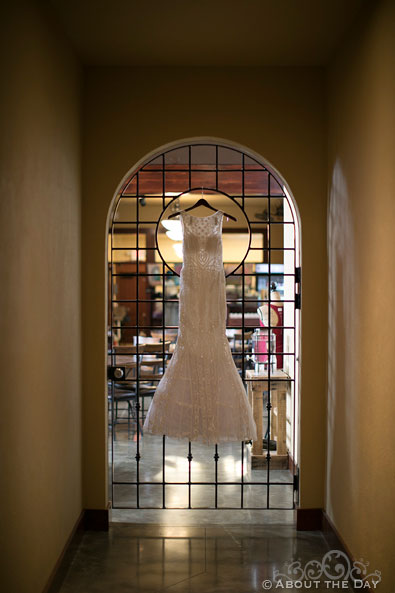 The Wedding Dress hanging on a door at the DC Estate Winery