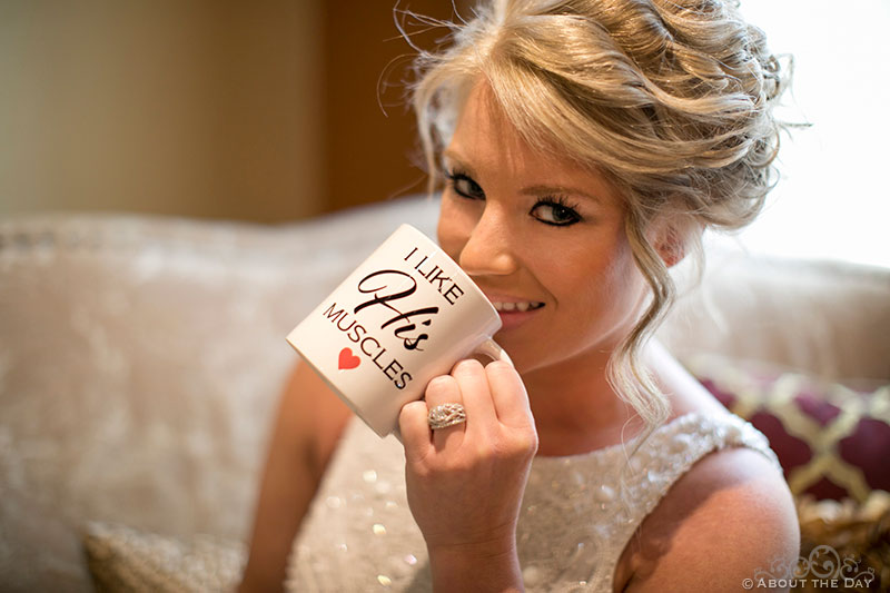 Bride's coffee mug says I love his muscles