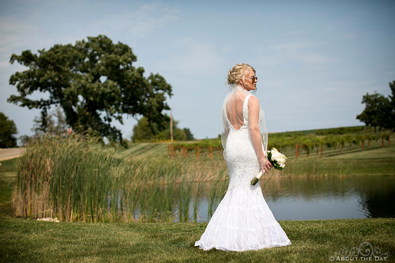 Heather, the beautiful bride poses at DC Estate Winery