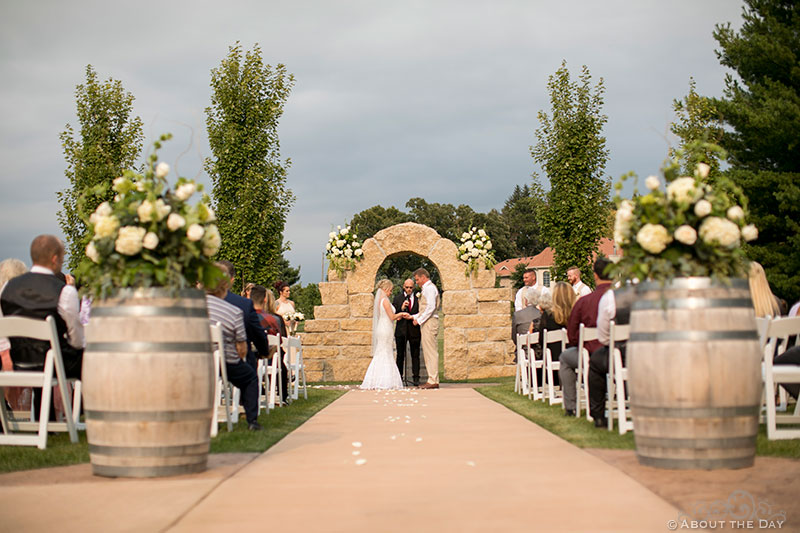 Wedding ceremony at DC Estate Winery in South Beloit, ILL