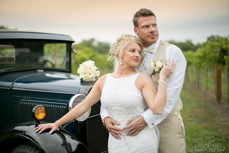 Bride and Groom look amazing in front of old ford truck at DC Estate Winery