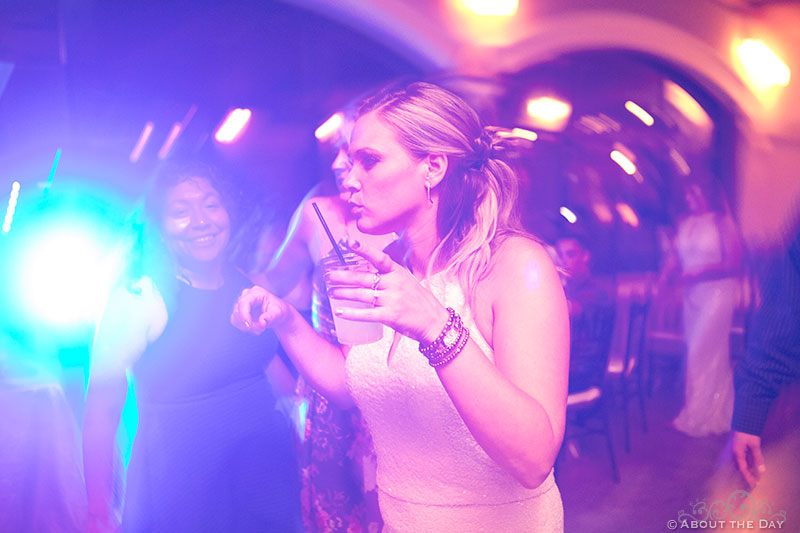The bridesmaids get down with the late night dancing